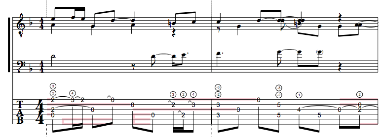 First two bars of Ragamuffin by Michael Hedges.